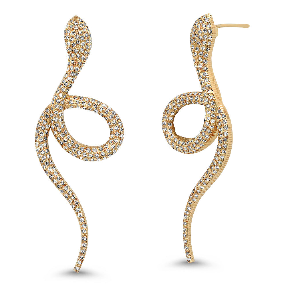diamond snake statement earrings