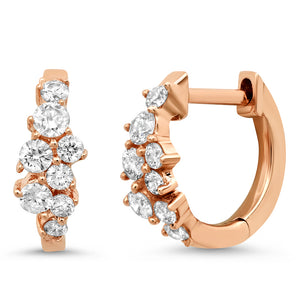 Diamond Cluster Huggie Hoop Earrings