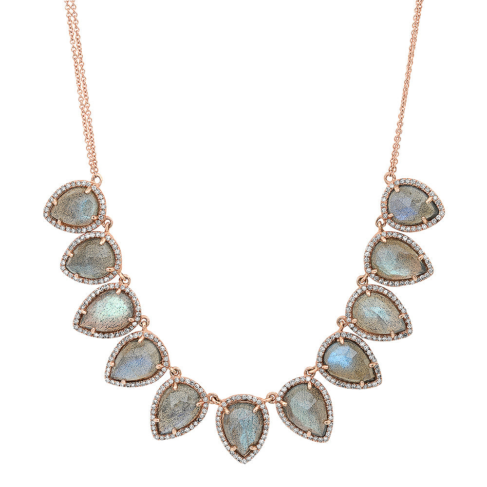Luminescent Pear Labradorite & Diamond Necklace