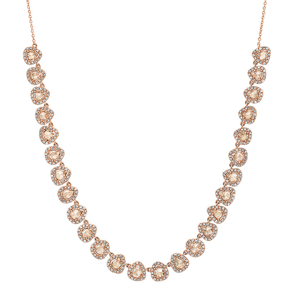 Rosecut Diamond Princess Teardrops Necklace