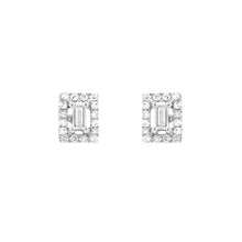 Diamond Baguette Halo Stud Earrings