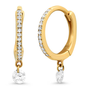 Floating Diamond Drop Huggie Hoop Earrings