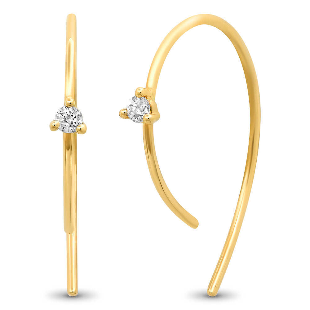 Single Diamond Modern Hook Earrings