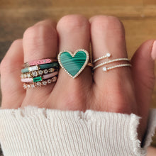 The Eloise Baguette Shaped Semi Precious Stone with Enamel Band Ring