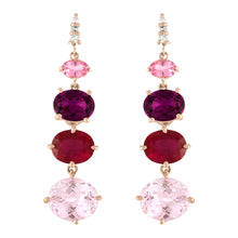 Kunzite Ruby Grape Garnet Transformer Earrings