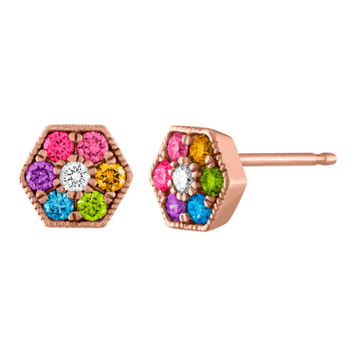 Eve Hexagon Rainbow Gemstone Trio Studs