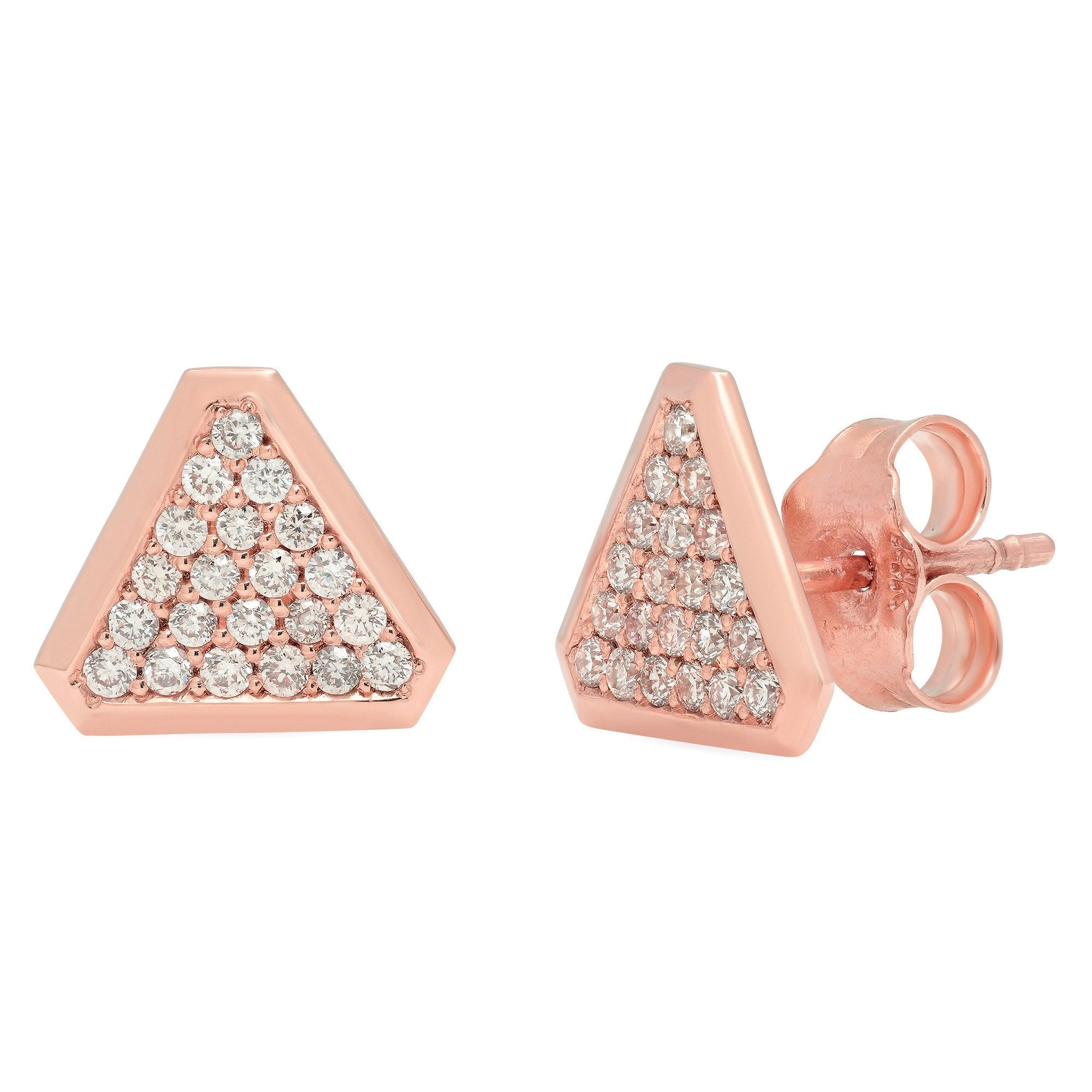Benitoite Triangle Stud Earrings