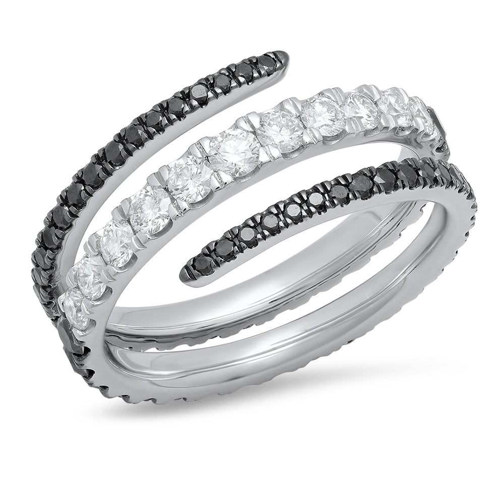Black and White Diamond Coil Ring