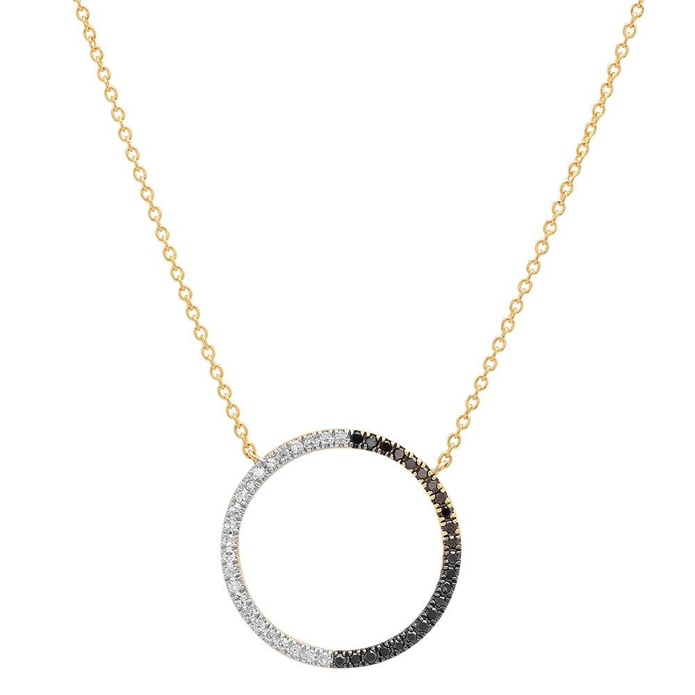 Black and White Diamond Circle Necklace