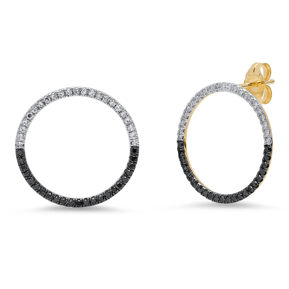 Black and White Diamond Loop Earrings