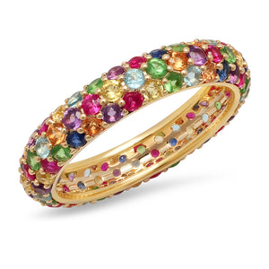 Multi Colored Pave Domed Ring