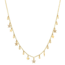 Dangle Stars and Bezel Diamonds Necklace