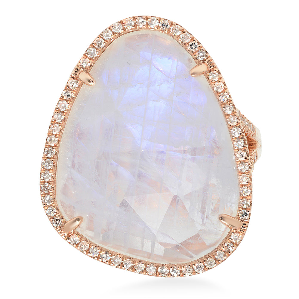 One of a Kind Moonstone & Diamond Ring
