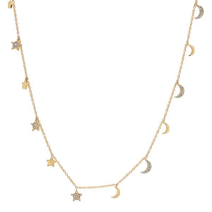 "30"" Diamond Moon & Star Long Necklace"