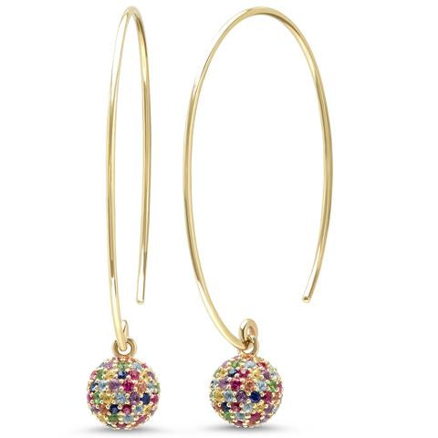 Rainbow Gemstone Disco Ball Earrings