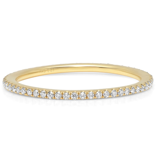 Gold Micro Pave Diamond Eternity Band Ring