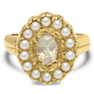 Sunrise Moonstone Ring with Pearls