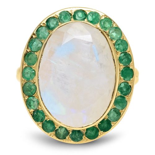 Princess Scepter Moonstone Ring with Emeralds