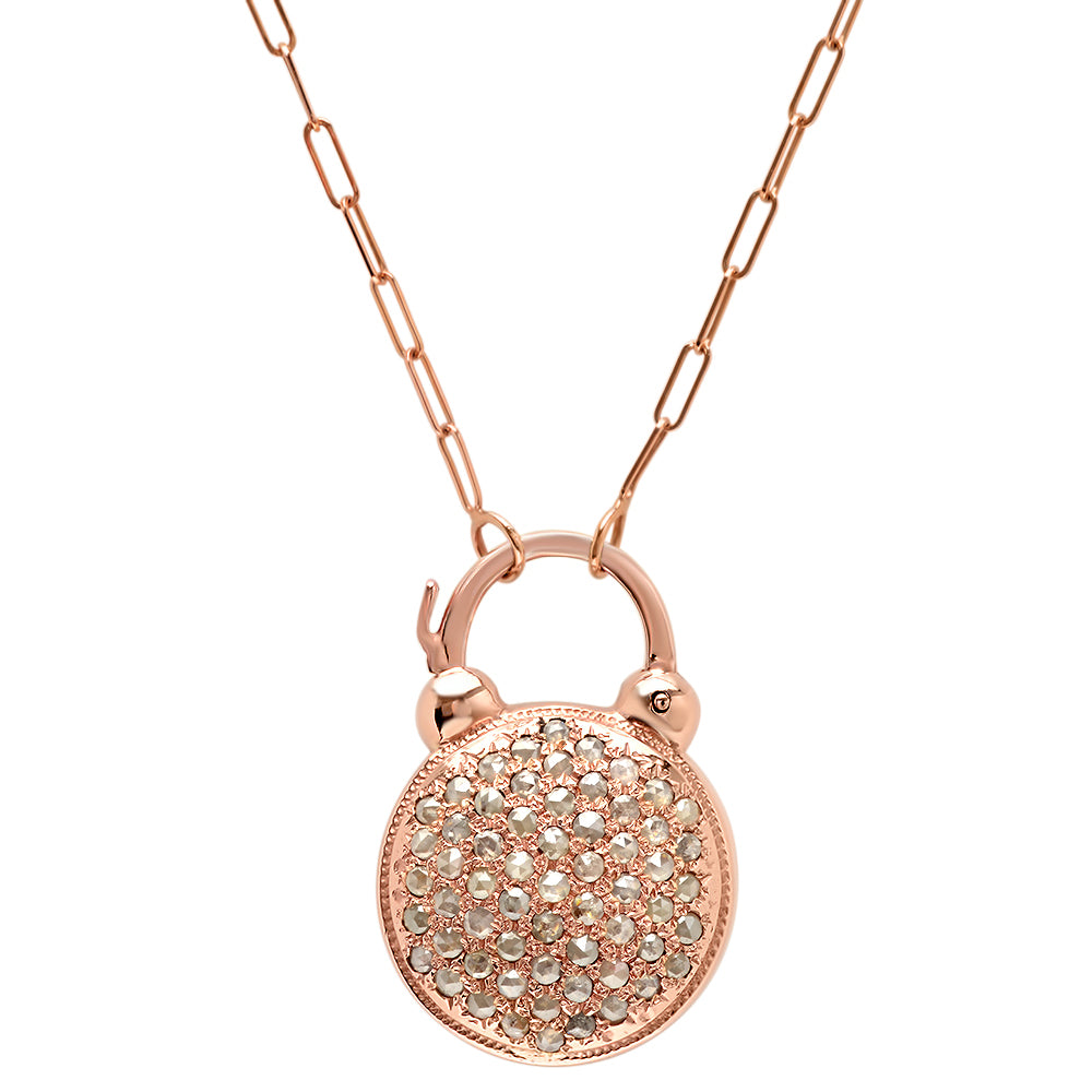 Large Round Pave Diamond Padlock Necklace