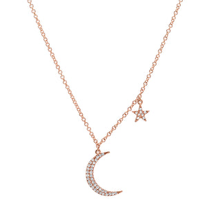 Diamond Moon & Star Charm Necklace
