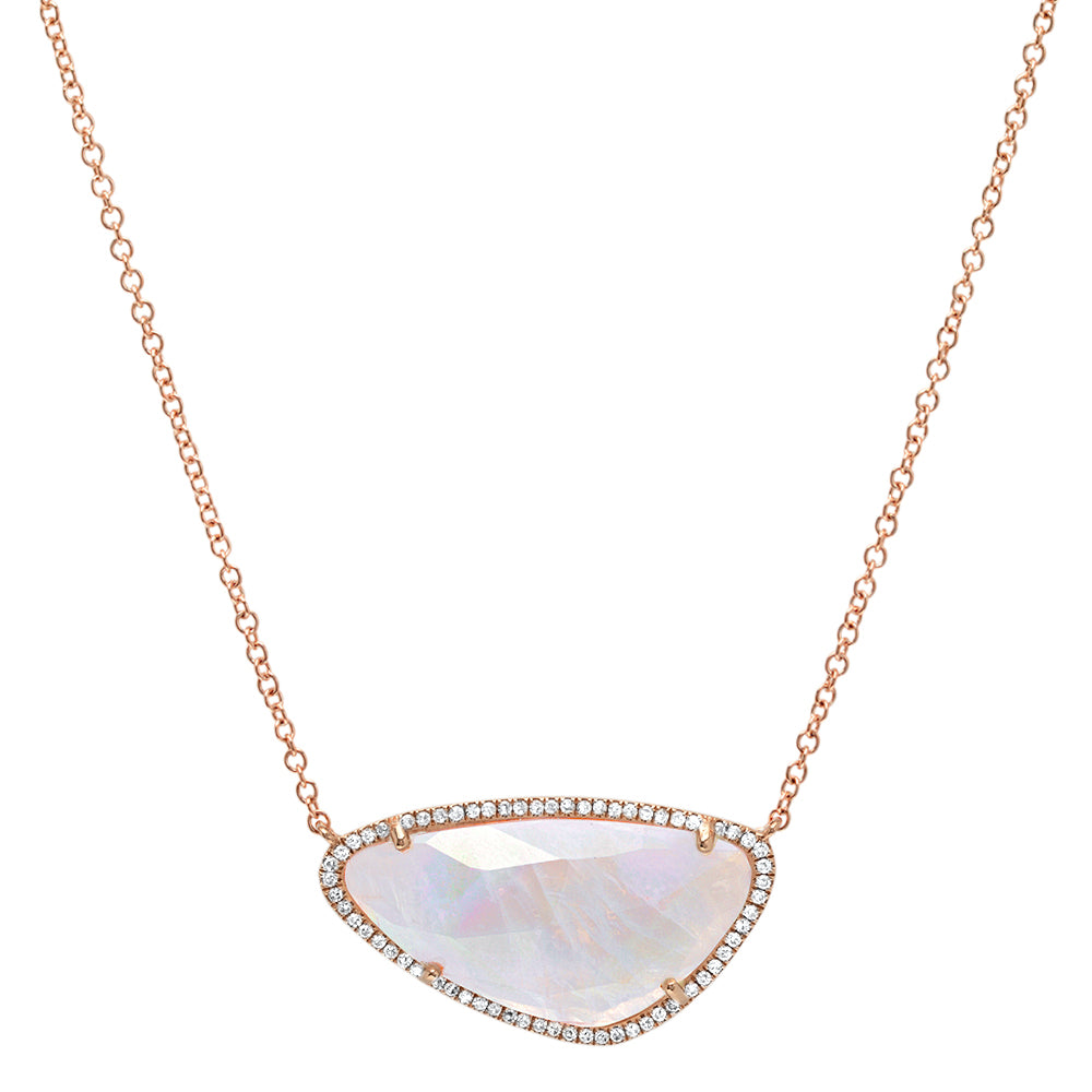 Large Oblong Rainbow Moonstone Necklace