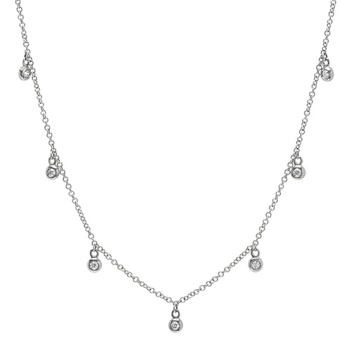 7 Bezel Diamond Droplets Necklace