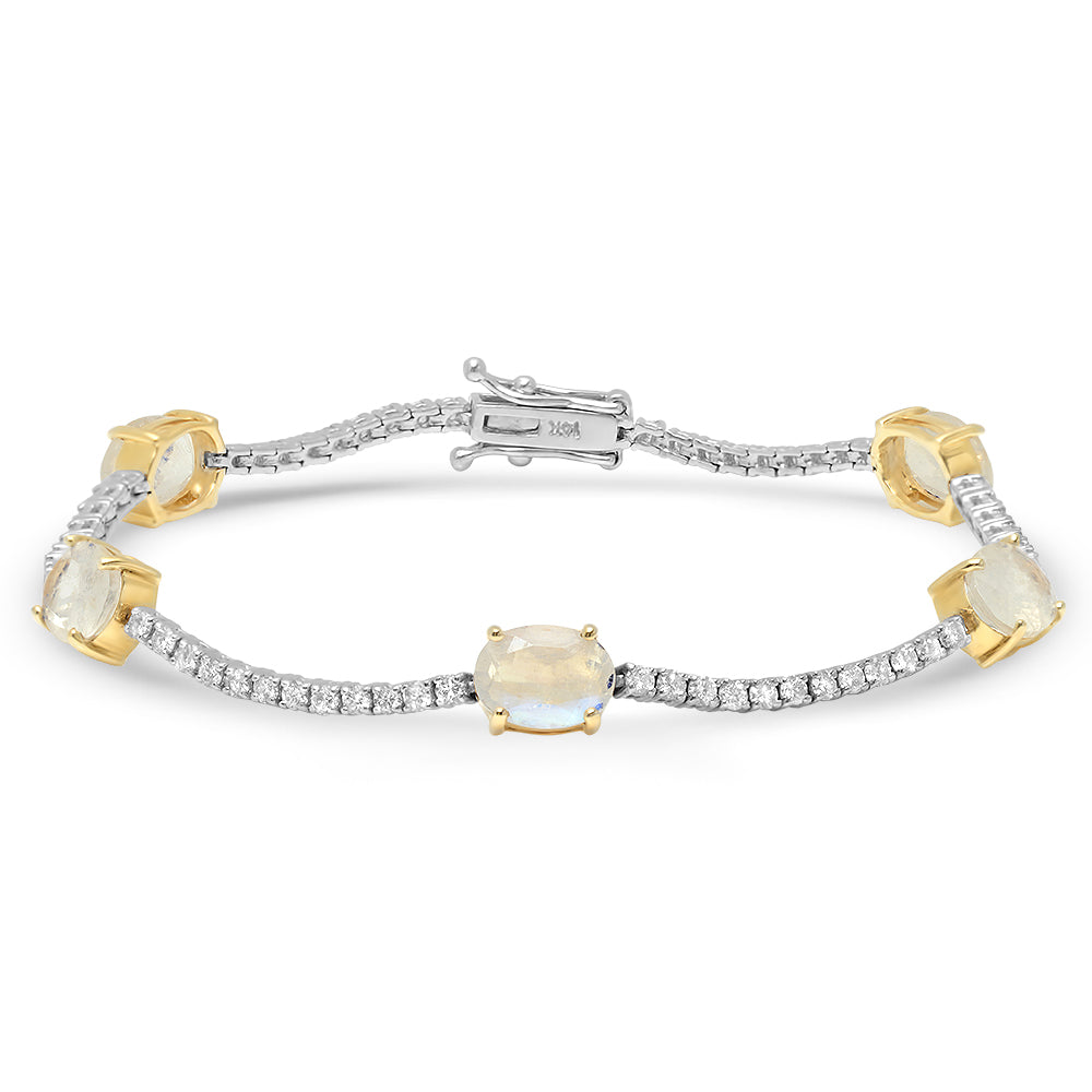 Oval Moonstone and Diamond Tennis Bracelet