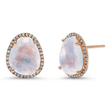 Organic Shape Large Moonstone with Diamond Halo Studs