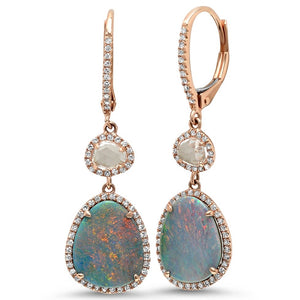 Opal and White Topaz with Diamond Halo Drop Earrings