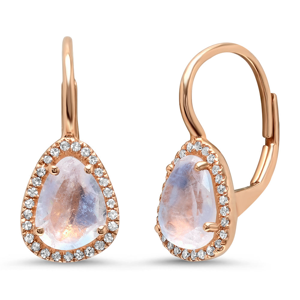 Moonstone with Diamond Halo Everyday Drops Earrings