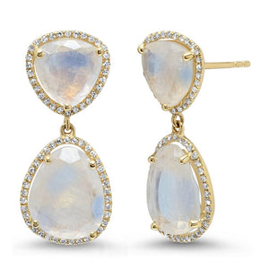 Double Moonstone with Diamond Halo Drop Earrings