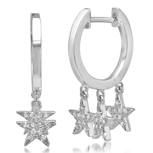 Triple Pave Diamond Star Drop Huggies