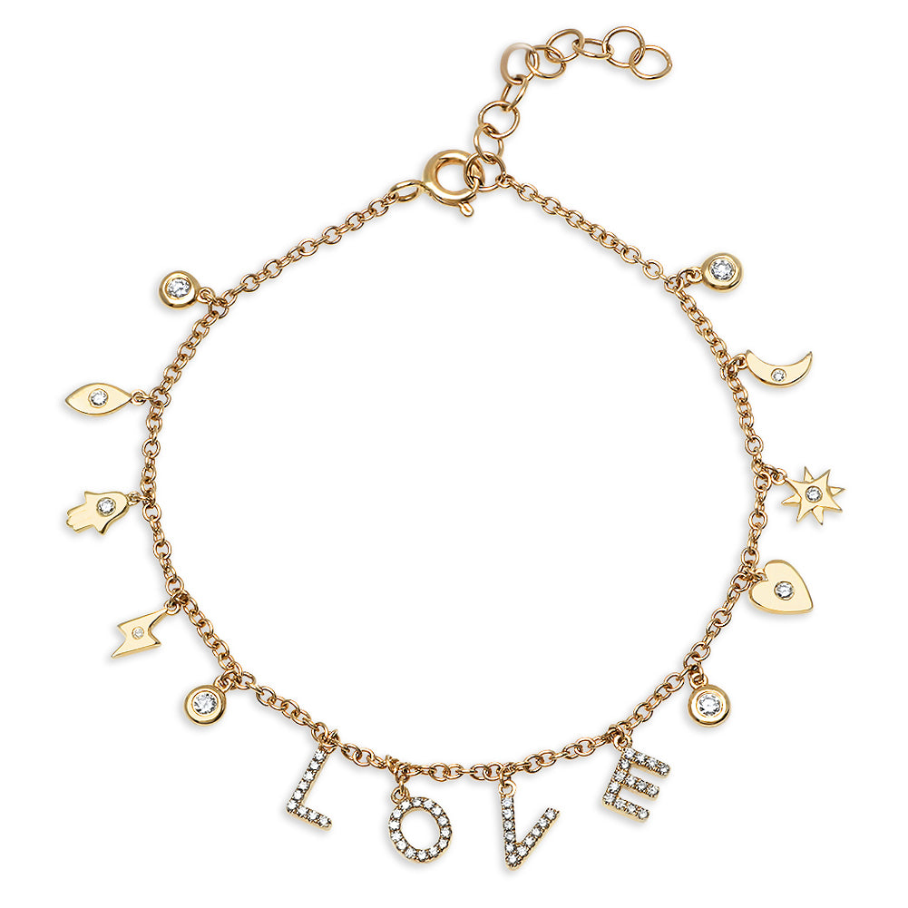 Diamond Love Mini Charm Bracelet