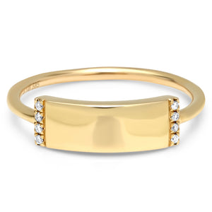 Rectangle Diamond Skinny Plaque Engravable Ring