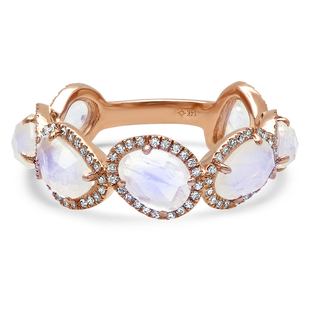 Organic Shapes Moonstone & Diamond Band Ring