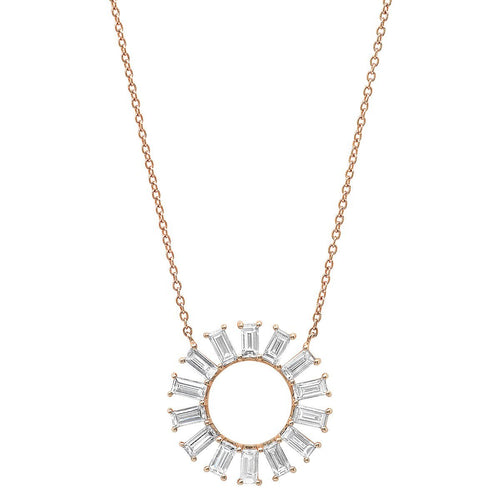 Diamond Baguette Flower Wheel Necklace