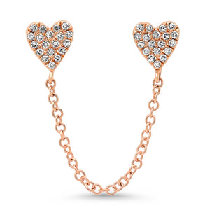 Double Pierce Diamond Heart Stud Chain Earrings