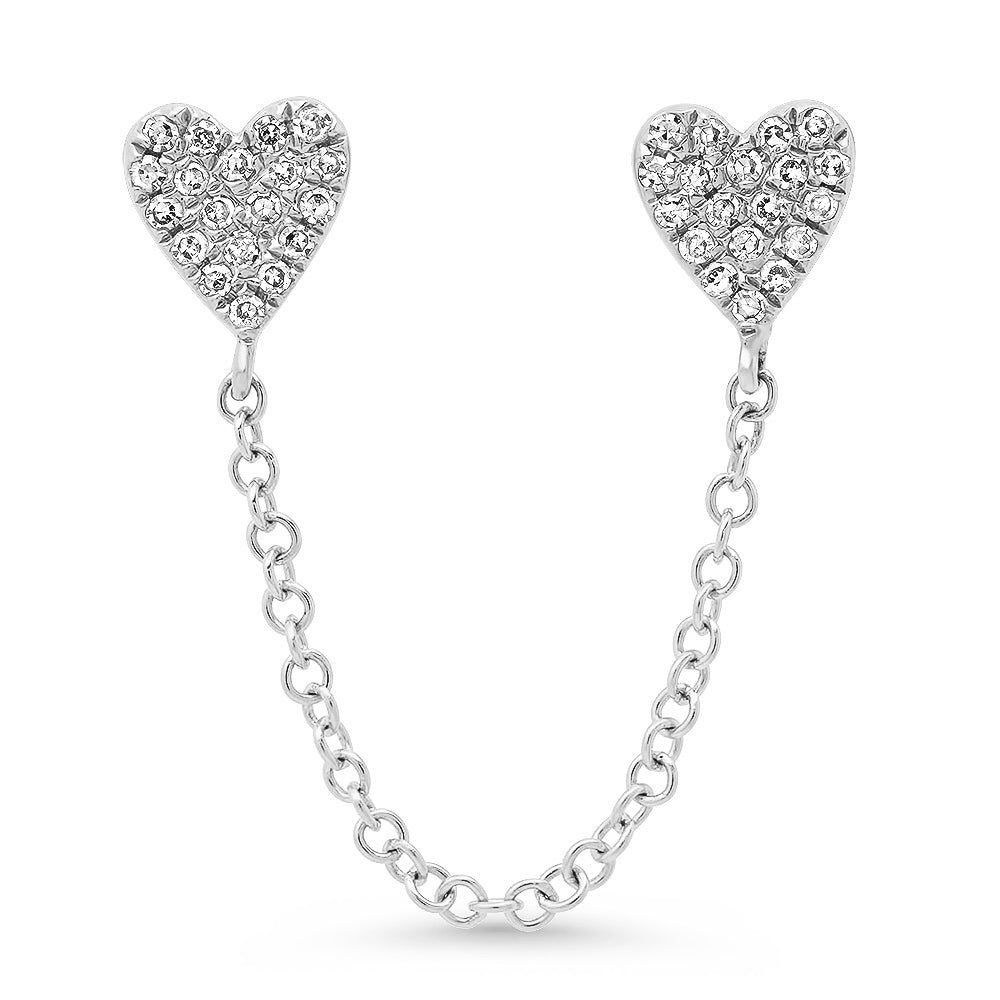 diamond heart chain earring