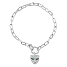 Diamond and Emerald Panther Charm & Chain Bracelet