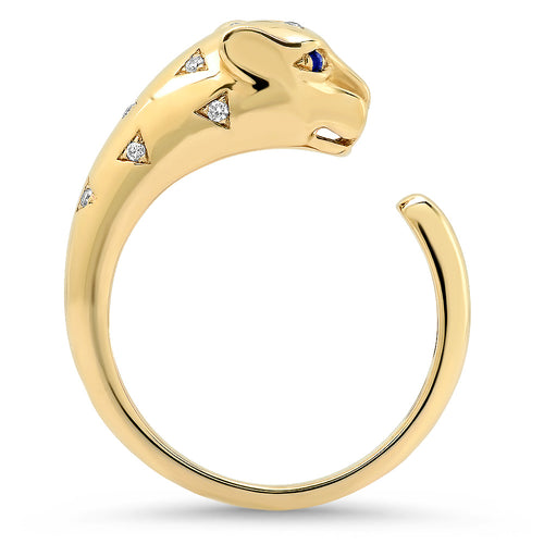 Scattered Diamond Panther Ring