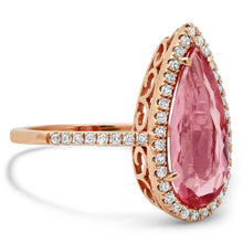 One of A Kind Pear Shaped Pink Tourmaline with Diamond Halo Ring