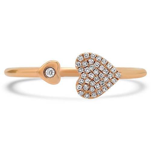 Diamond Kissing Hearts Ring
