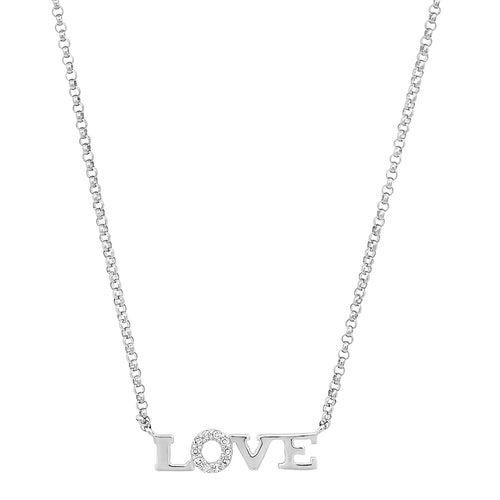 Delicate Diamond Love Nameplate Neklace