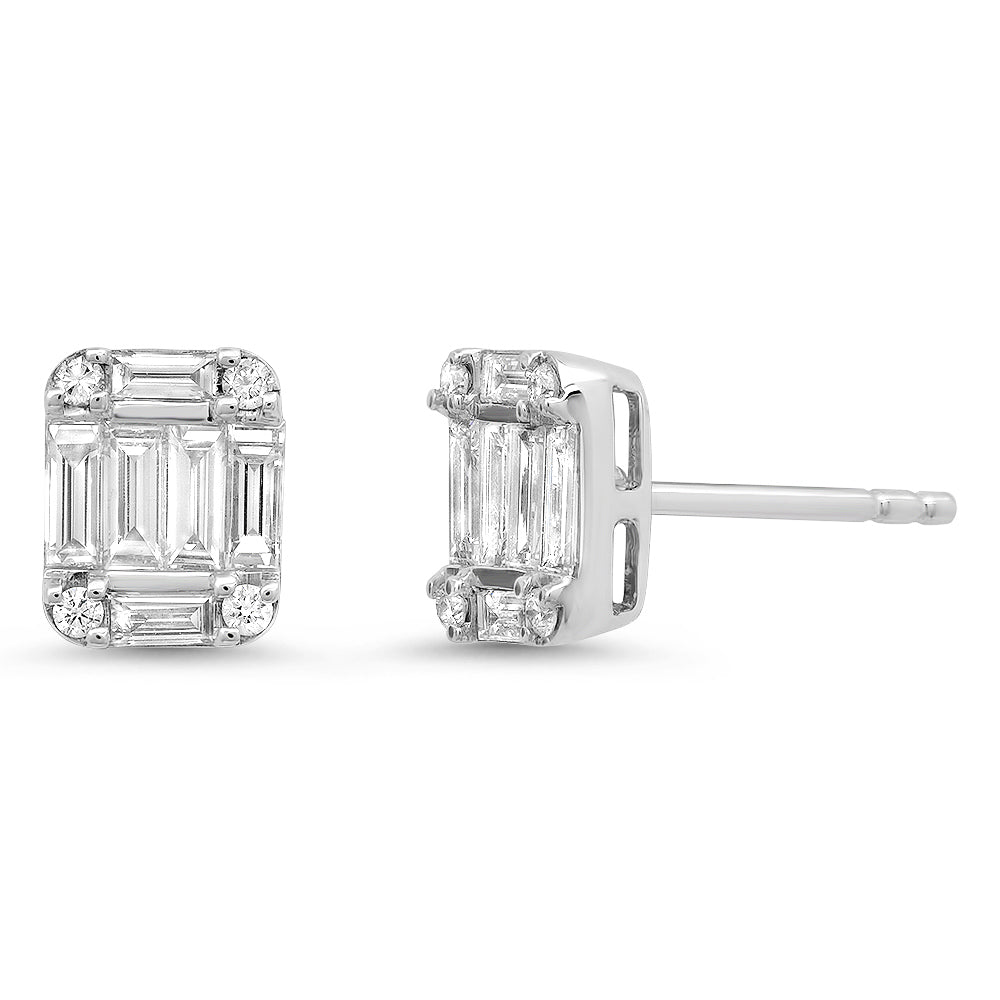 Diamond Baguette Cluster Illusion Stud Earrings