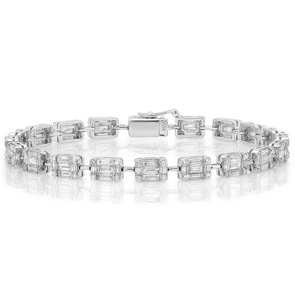 Diamond Baguette Cluster Illusion Tennis Bracelet
