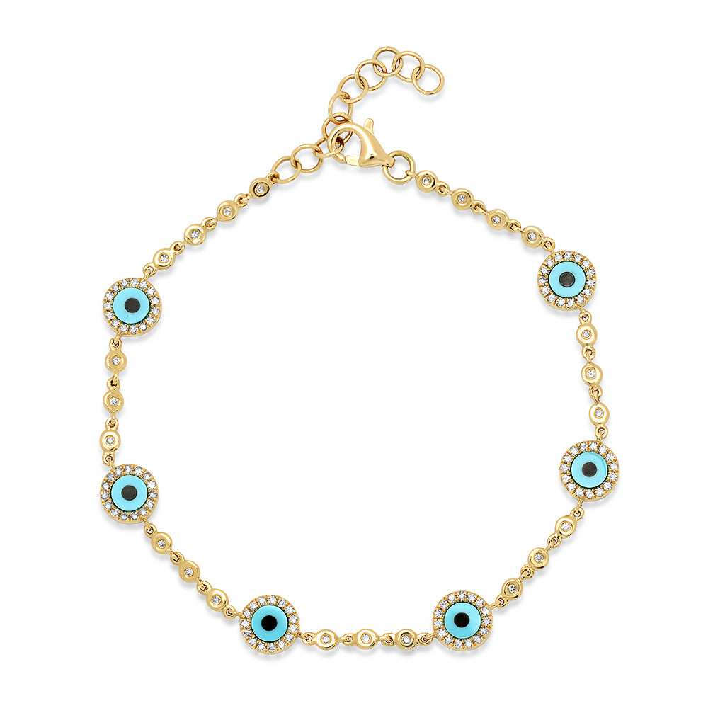 Turquoise Evil Eye & Bezel Set Diamonds Bracelet