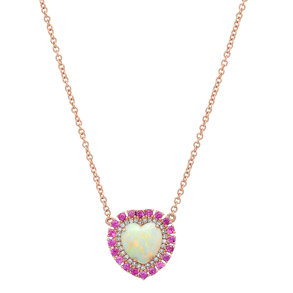 One of a Kind Opal & Pink Sapphire Heart Pendand