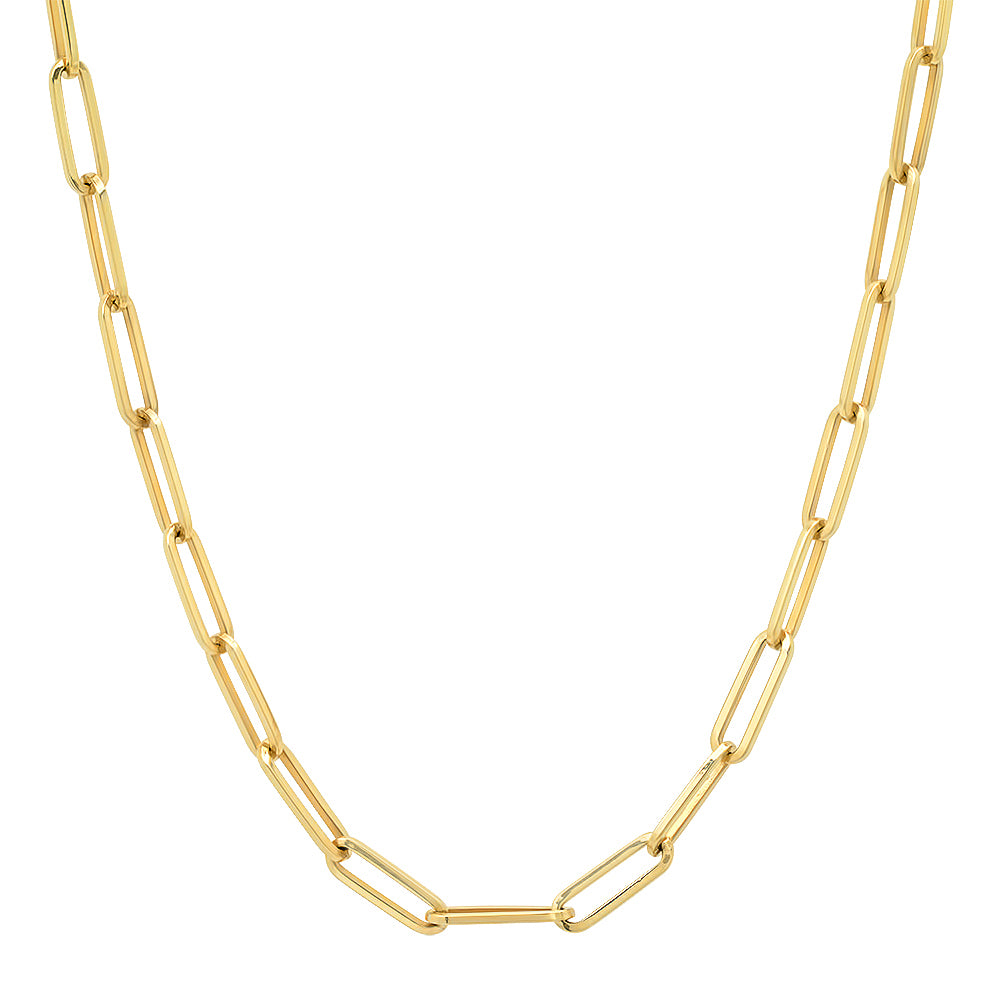Essential Medium Paper Clip Link Drawn Gold Cable Chain (hollow)