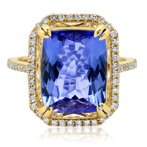 Cushion Cut Tanzanite & Diamond Cocktail Ring