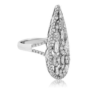 Pear Shape Statement Ring With Mixed Diamonds